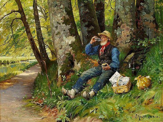 Peder Mønsted: Lunch break in the forest. A wander