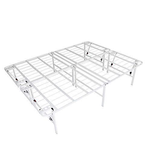 Mrt Supply Lightweight Easy Set Up Bifold Platform White Metal Bed Frame King With Ebook White Metal Bed White Metal Bed Frame Black Metal Bed