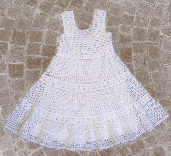 White Lace Crochet Dress for Toddler Girls - Instant Download Pdf ...