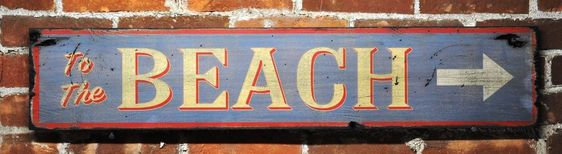 To The Beach Arrow Sign - Rustic Hand Made Vintage Wooden Sign