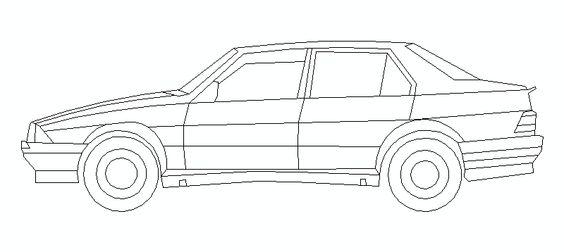 coche alfa romeo en alzado lateral