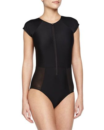 Surfer Chic Cap-Sleeve Zip One-Piece Swimsuit by 6 Shore Road by Pooja at Neiman Marcus.