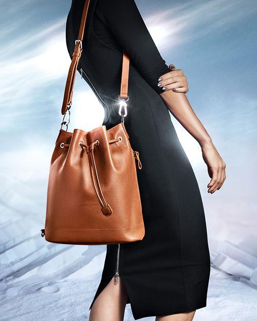 Longchamp Le Foulonné Large Leather Bucket Bag Handbags ...