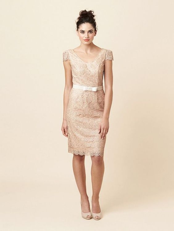 Beautiful Bridesmaid Dresses Online: Short Champagne and Lacy ...