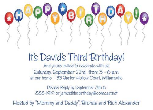 """Birthday Balloons Party Invitation. 6 3/4"""" x 4 7/8"""""""