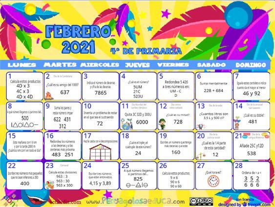 Calendario Cuarto ABN – Febrero 2021