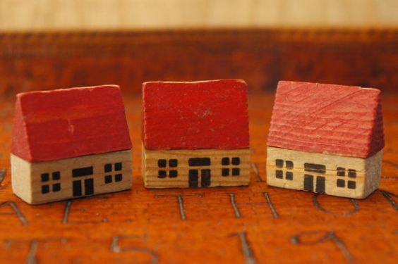 Vintage 50s-60s Wooden Block Houses Miniature by SycamoreVintage
