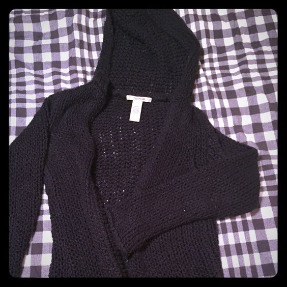 Free People mix length black heavy knit sweater sm Really quality jacket/sweater. Size small but will also fit a medium. In good shape. Has a hood. I'm 5'6 and it comes down to my mid thigh. Has a good weight to it. Will keep you nice and warm this winter ☃will consider trades/offers Free People Jackets & Coats Pea Coats
