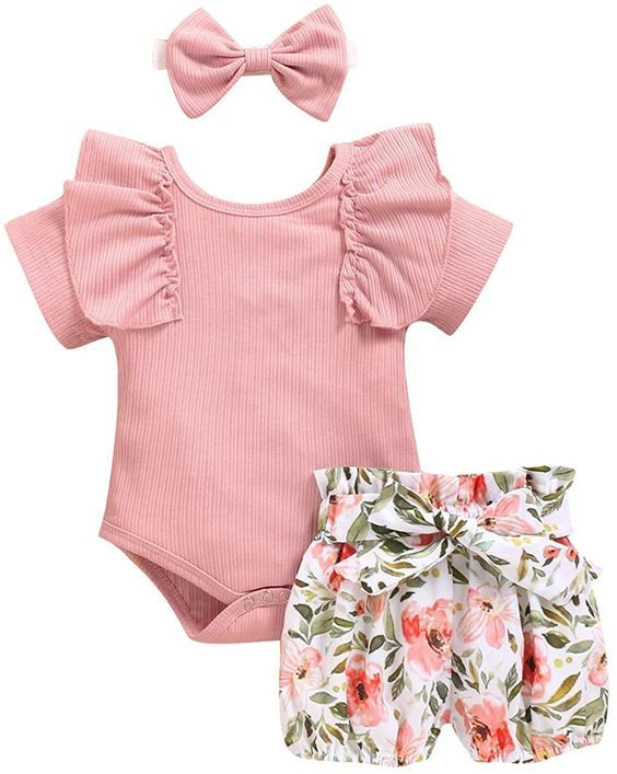 Floral Short Outfits Headband Set Details about  /Newborn Infant Baby Girls Ruffles Romper Top