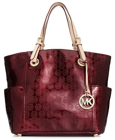 Michael Kors East West Tote...so want this bag in bordeaux and nickel