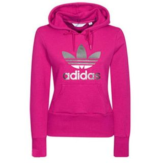 This is an adidas hoodie for women. It has the image and the words ...