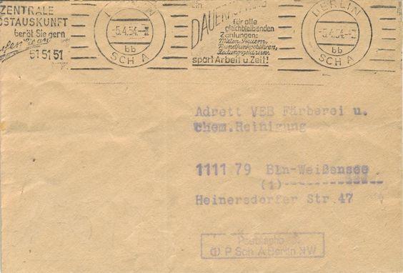 Postscheckamt Berlin NW (Ost) 05-04-1954 Maschinenstempel 'Ein Dauerauftrag fur alle gleichbleibenden Zahlungen: Mieten, Steuern, Rundfunkgebuhren, Zeitungsgeld usw. spart Arbeit u.Zeit!' und 'Zentral Postauskunft berat Sie gern. Rufen Sie an: 515151'