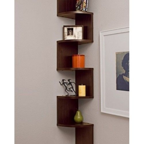 Corner Shelves Zig Zag Wall Mount Shelf Wood Walnut Color Finish Home Display
