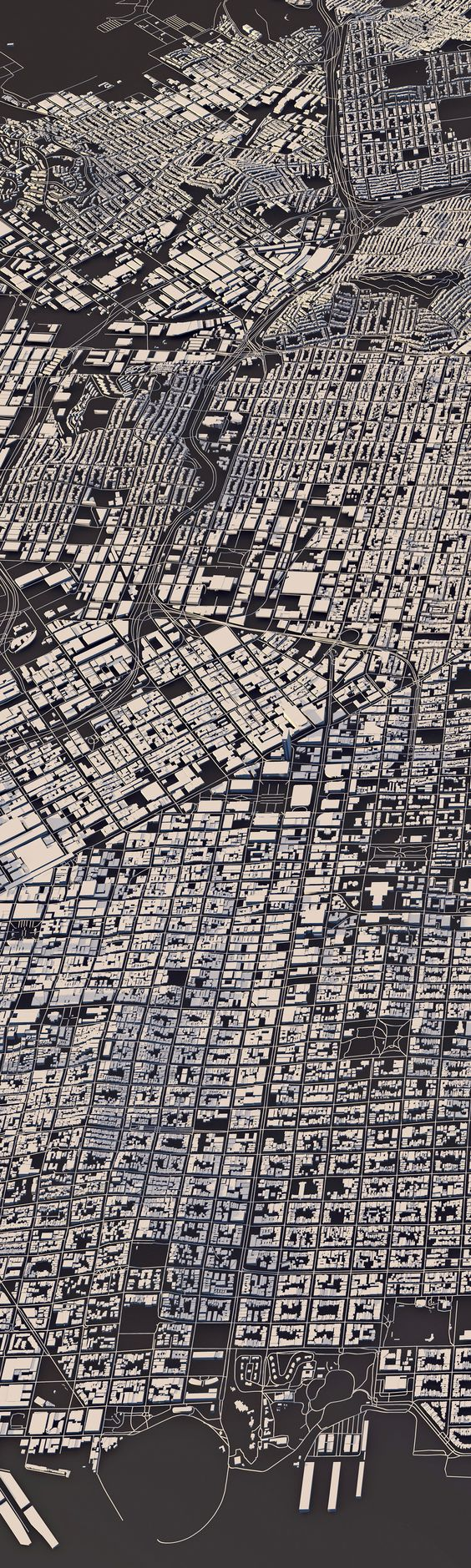 Luis Dilger - City Layouts combining topography and 3D rendering from OpenStreetMap data.