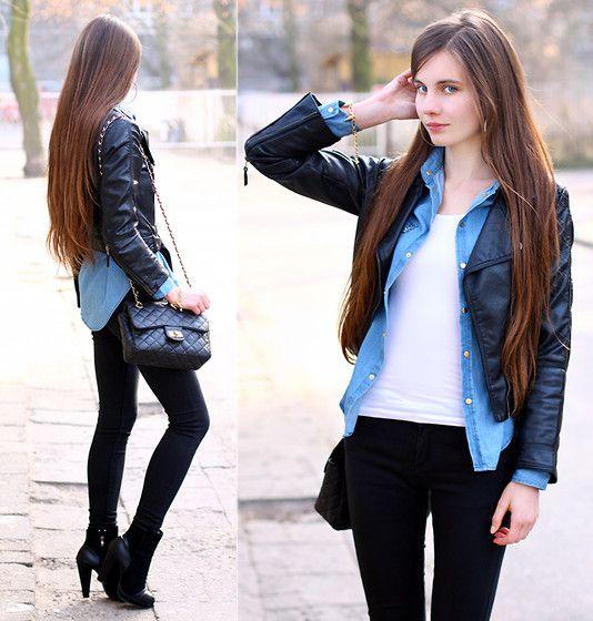 H&ampM Black Leather Jacket Romwe Denim Shirt With Studded Collar