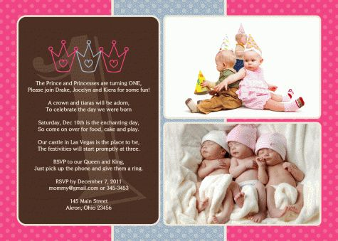 Prince princess photo birthday invitation triplets twins siblings prince princess photo birthday invitation triplets twins siblings photo birthday invitations pinterest princess photo triplets and siblings filmwisefo Choice Image