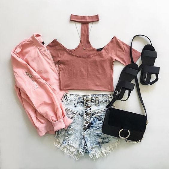 Pink crush  || Bomber & sandals @agaci_store #agacigirl || shorts- GjGdenim|| top & necklace @forever21 #f21xme|| bag- Lightinthebox|| #flatlay #flatlayapp #flatlays www.theflatlay.com