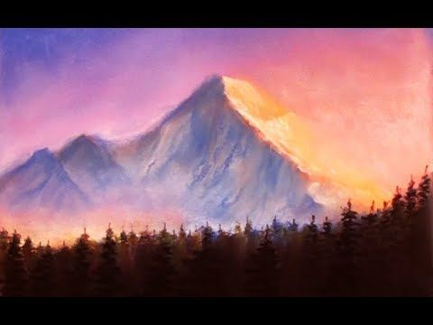 Sunset Mountains Drawing With Soft Pastels Dilip Realistic Sketching Youtube Realistic Drawings Mountain Drawing Drawing Sunset