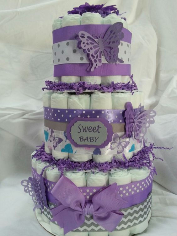 Purple butterfly diaper cake.
