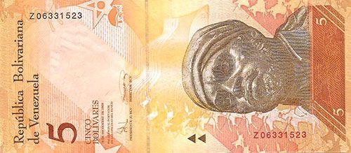 Pieza bbcv5bsf-ab01r (Anverso). Billete del Banco Central de Venezuela. 5 Bolívares Fuerte. Diseño A, Tipo B. Fecha Diciembre 19 2008. Serie Z8. Billete de reposición