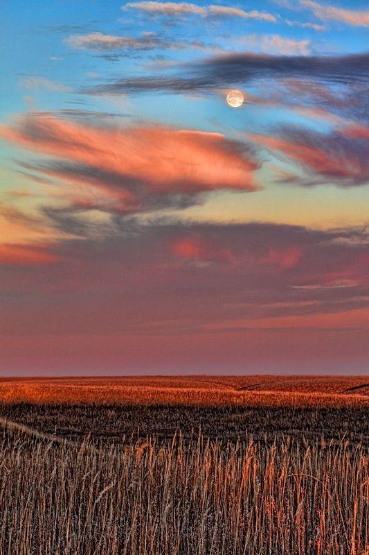 Tallgrass Prairie Moon, Flinthills, Kansas, by Brad Mangas, on flickr.