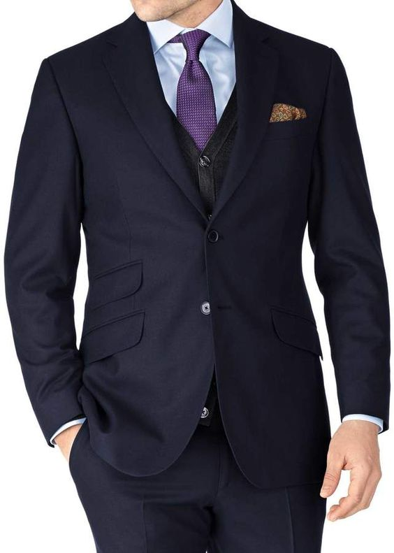 Charles Tyrwhitt Navy Slim Fit British Serge Luxury Suit Wool Jacket Size 36