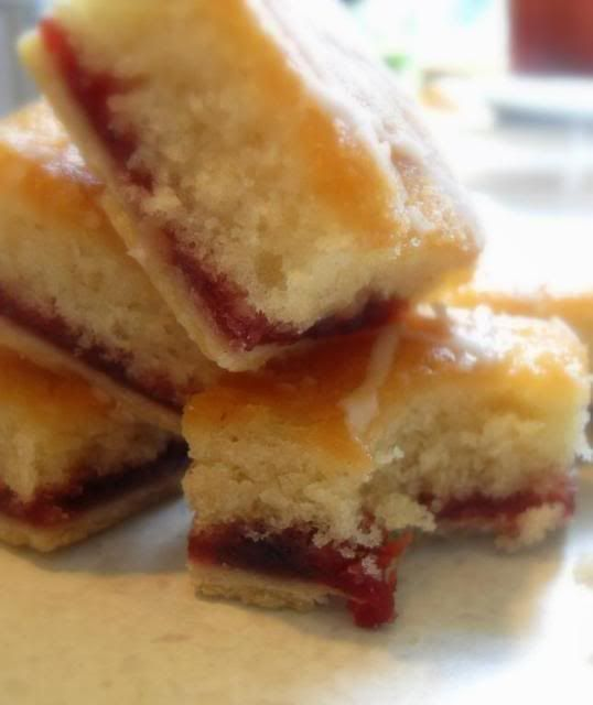 Strawberry Jam Tray Bake - sweet short pasty base, jam layer + cake top