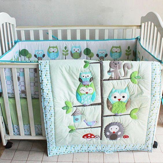 3D Green Owl Leaves Bird Baby Unisex Nursery Bedding Set Crib Quilt Sheet Bumper…