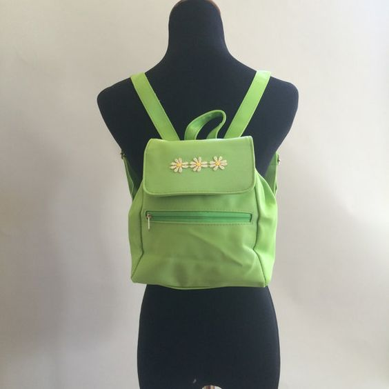 Daisy Lime Green Mini Backback // 90s kid by NakedxIntersection
