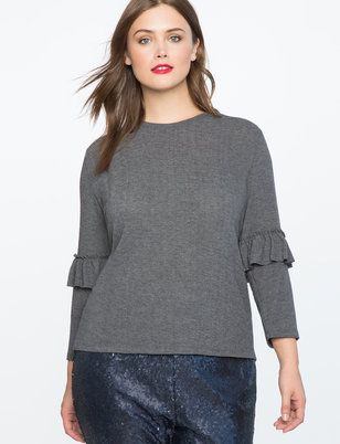 Ruffle Sleeve Hatchi Knit Top from ELOQUII