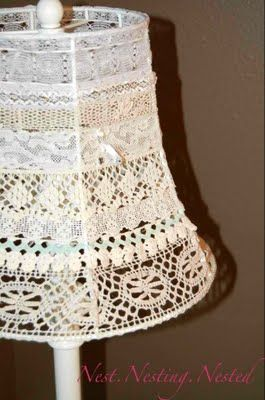 The girly-girl in me loves this vintage lace lampshade for my bedroom. Now, to dig out that box of old lace! ;)