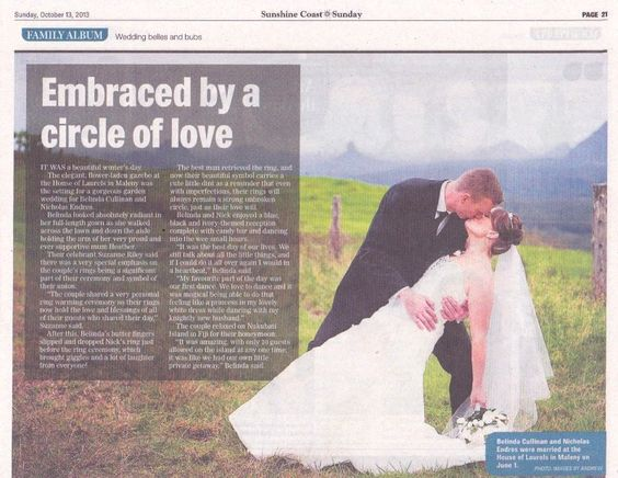 Embraced by a circle of love - Wedding Belles Sunshine Coast Daily Newspaper by  www.suzanneriley.com.au Suzanne Riley Marriage Celebrant