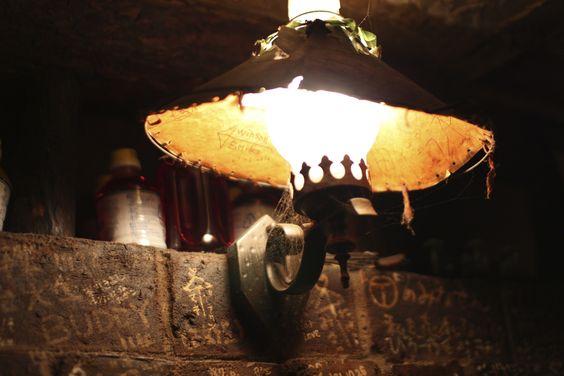 Old lamp at cafe Saboul.