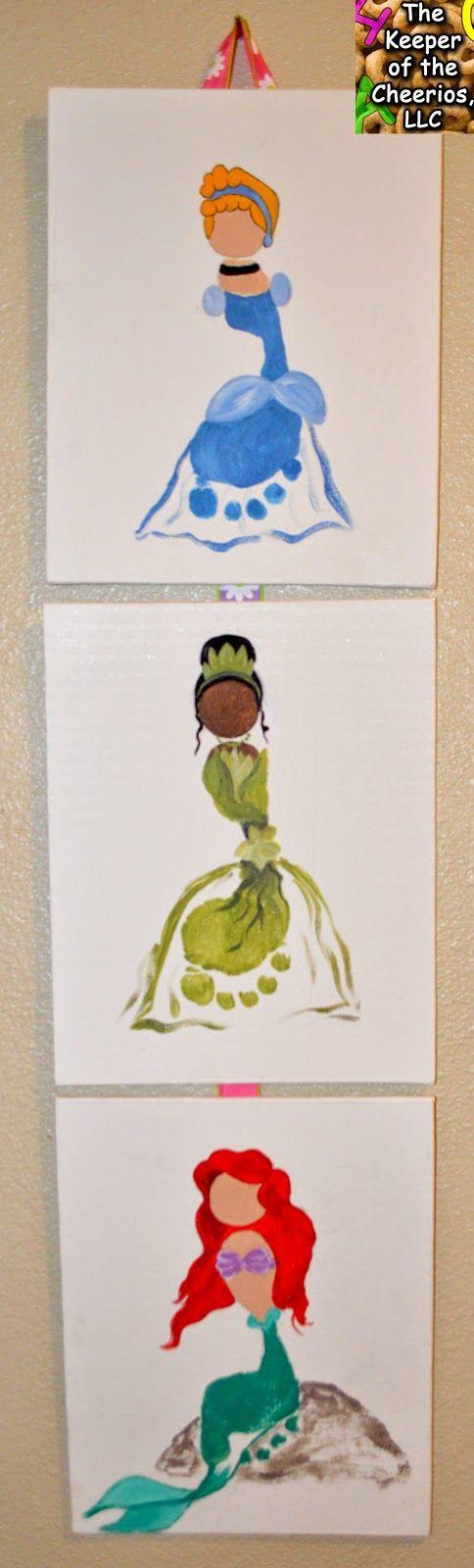 Disney Princess Footprint Craft, Cinderella Footprint, Tiana Princess and the Frog Footprint, Ariel Little Mermaid Footprint