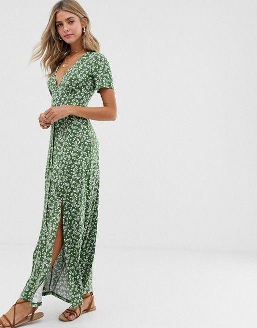 Asos Design Button Through Maxi Tea Dress With Splits In Ditsy Print Asos Tea Dress Summer Fashion Dresses High Tea Dress