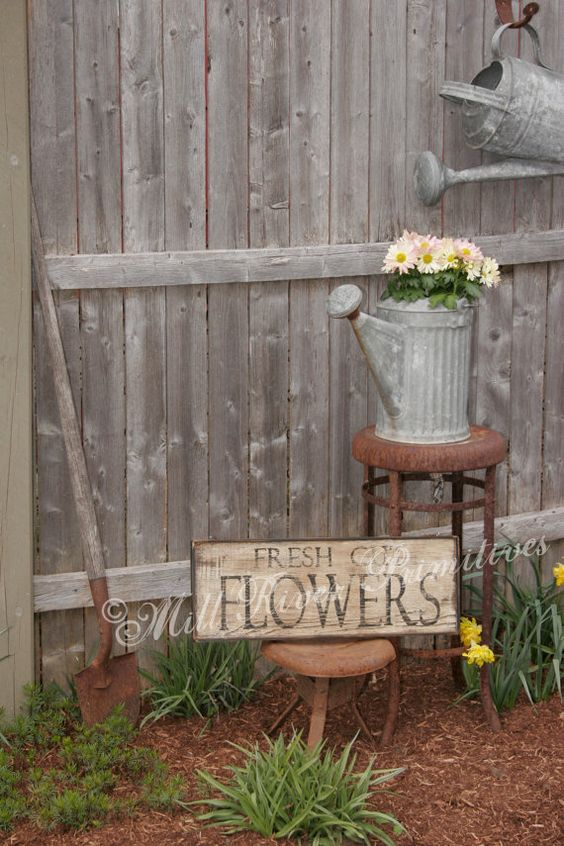 Primitive aged fresh cut flowers wood sign gardens flower and rustic gardens - Rustic flower gardens ...