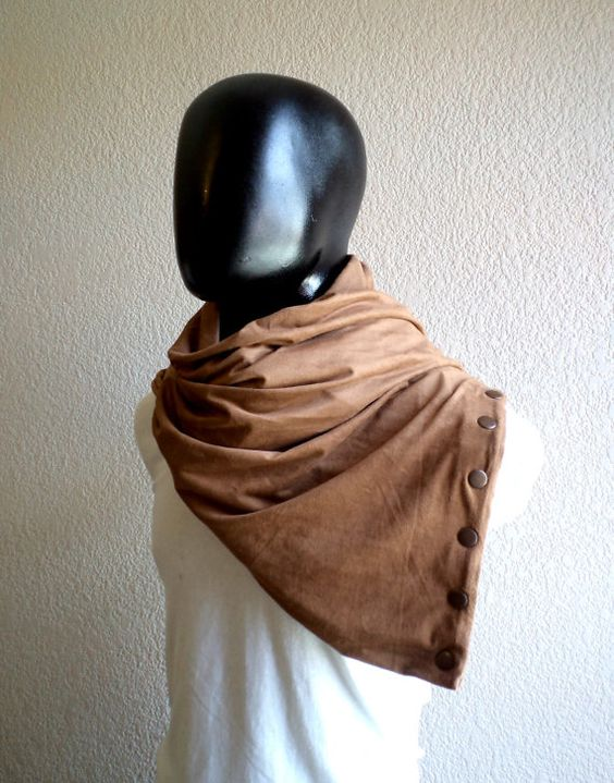 Men Infinity scarf with snaps fastener Vegan cowl by CheriDemeter, $32.50