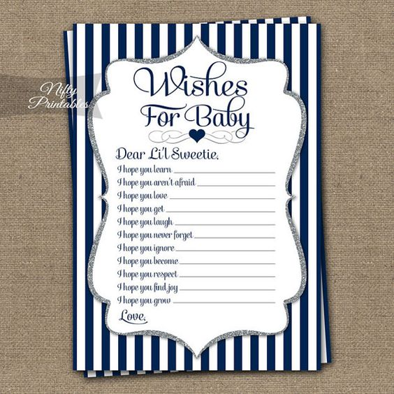 Wishes For Baby Game Navy Blue & Silver Baby por NiftyPrintables