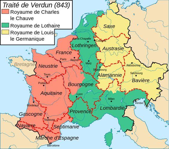 Division de l'Empire de Charlemagne au traité de Verdun (843)- CHARLES LE CHAUVE, 4) PARTAGE DE L'EMPIRE (840-843), 2: Le 14 février 842, ils renforcent leur alliance en prononçant réciproquement les SERMENTS DE STRASBOURG,  prononcés en langue romane et en langue tudesque afin d'être compris par les troupes de l'Ouest comme de l'Est de la Francie. Les hostilités cessent avec le TRAITE DE VERDUN vers 843.