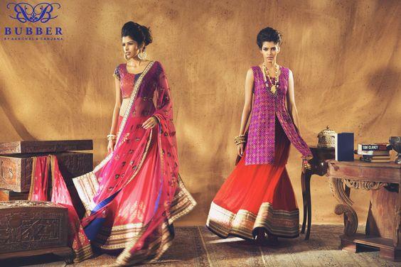 Rani Pink, Blue & Purple Tricoloured Lehenga Set & Rani Pink, Red & Purple Sherwani Lehenga Set By Bubber Couture  #indianfashion #sherwani #lehenga #gorgeous #dramatic #pretty #indianwear #indiandesigner