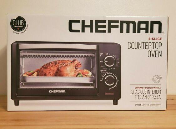Chefman Countertop Toaster Oven 4 Slice 1000w 120v 60hz Nib
