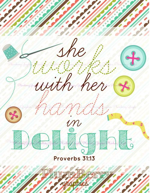 She Works Proverbs Sewing Printable with Timeline photo PlumberryGraphics, $5.00: