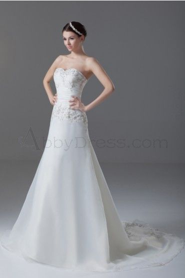 A-line Backless Sweetheart Beaded Pleat Cathedral Train Lace Organza Wedding Dress