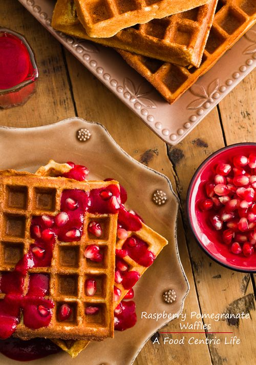 Raspberry Pomegranate Waffles