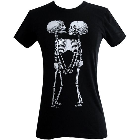 Siamese Twins Skeleton T Shirt - Horror Goth Print American Apparel Ladies Shirt - (Available in sizes S, M, L, XL) ($18) found on Polyvore
