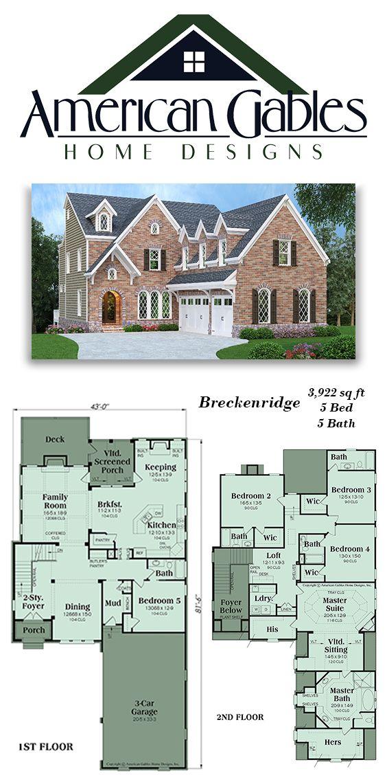 Luxury House Plan 3 922 Square Feet 5 Bed 5 Bath Breckenridge Houseplans Floorplans Dream House Plans House Plans Luxury Plan