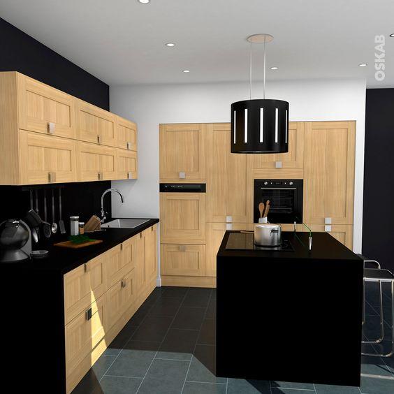 cuisine contemporaine bois brut et noir avec lot central implantation ouverte en l meuble
