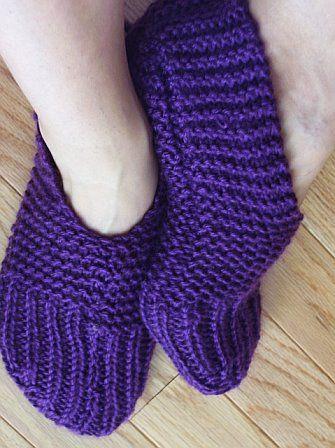 Free Knitting Pattern Bed Socks : slipper patterns knitted one piece Free Crochet Ballet Slipper Pattern kn...
