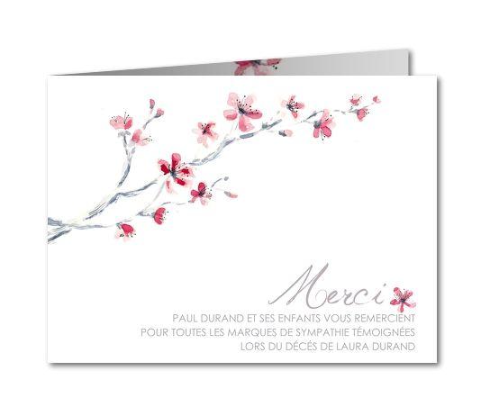 Carte de remerciement décès Branche cerisier aquarelle (B-757)