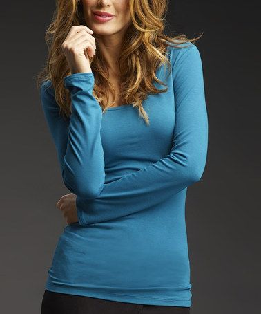 Love this Sea Long-Sleeve Scoop Neck Top by Trybe on #zulily! #zulilyfinds